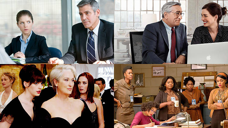 Up in the Air (2009, top left); The Intern (2015, top right); The Devil Wears Prada (2006, bottom left); Hidden Figures (2016, bottom right)