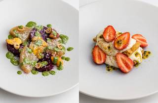 (Left to right) Ruby beetroot salad and mille feuille