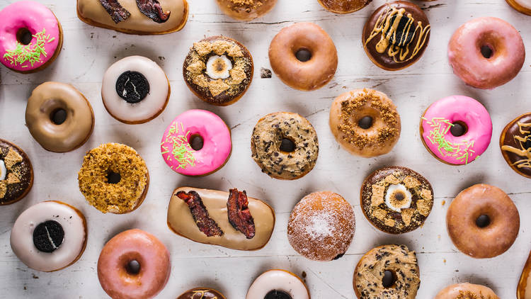A selection of different doughnuts by Grumpy Donut