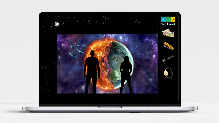 an online escape room showing two silhouetted figures facing a planet, as shown on a laptop