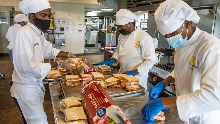 Students at the World Central Kitchen in Port-Au-Prince