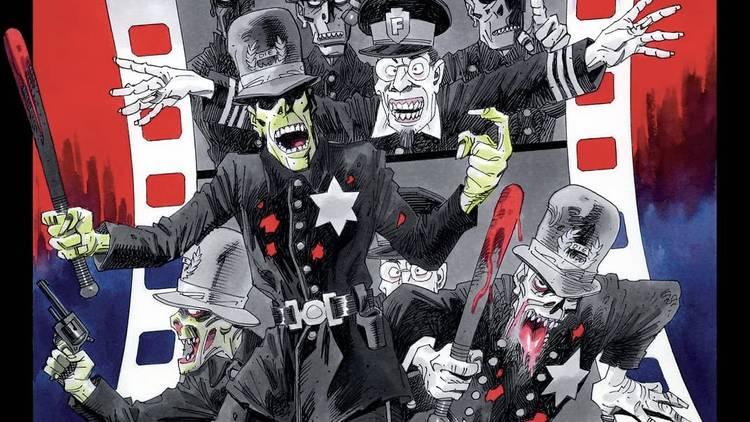 Ilustración de policías saliendo de una película de cine