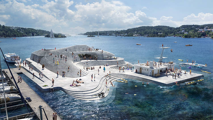 The curved grey concrete design of the Knubben harbour bath, reminiscent of a topographical map, by Norwegian architectural firm Snøhetta