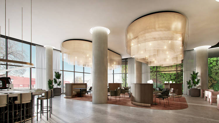 The lobby of the new Oakwood Premier Melbourne hotel.