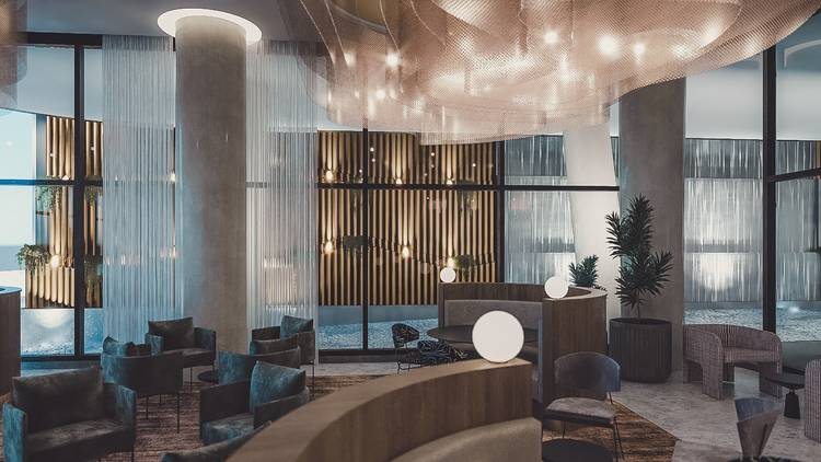 The lobby and seating area of the Oakwood Premier Melbourne hotel.