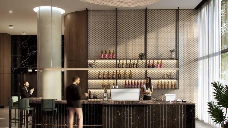 The lobby bar of the Oakwood Premier Melbourne hotel.
