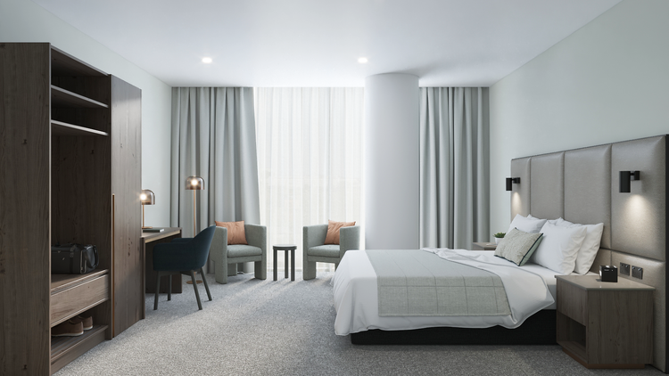An example of a room at the Oakwood Premier Melbourne hotel.