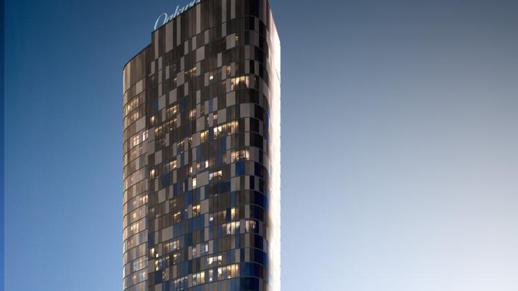 An exterior rendering of the Oakwood Premier Melbourne hotel.