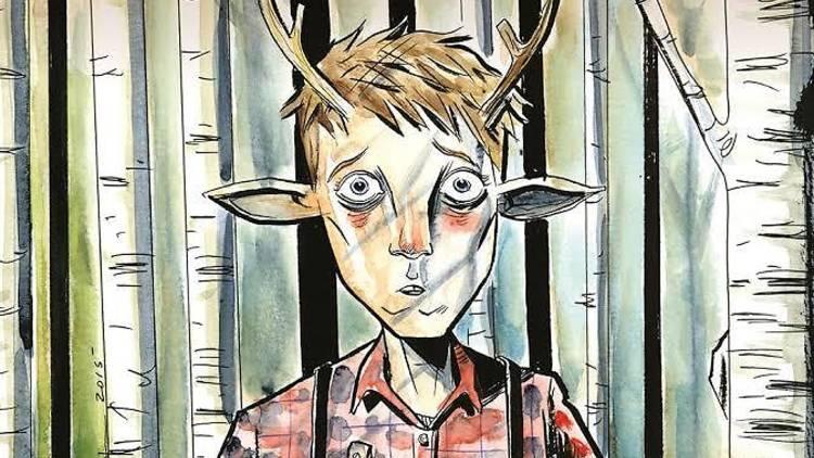 Ilustración de niño con cuernos de venado