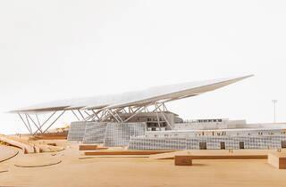 Maqueta del estadio Alfredo Harp Helú en la exposición Alonso de Garay: Proceso Transparente
