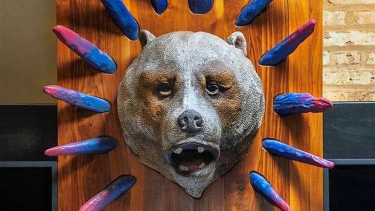 Bear head behind the bar at Half Acre lincoln taproom