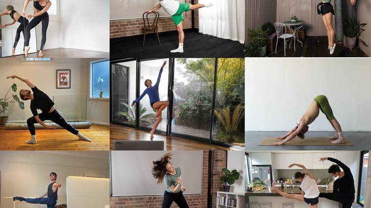 A collage of zoom-like livestream dance classes led by Sydney Dance Company dancers