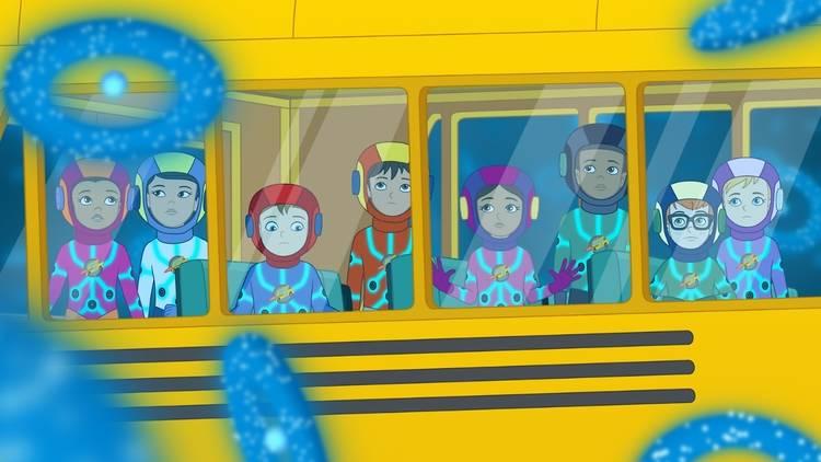A screenshot from 'The Magic Schoolbus Rides Again'