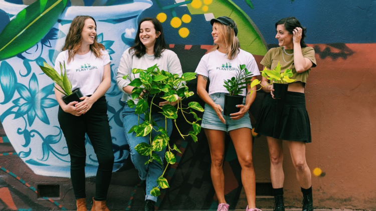 Team of four women from PlantGirl hold pot plants and smile and laugh.