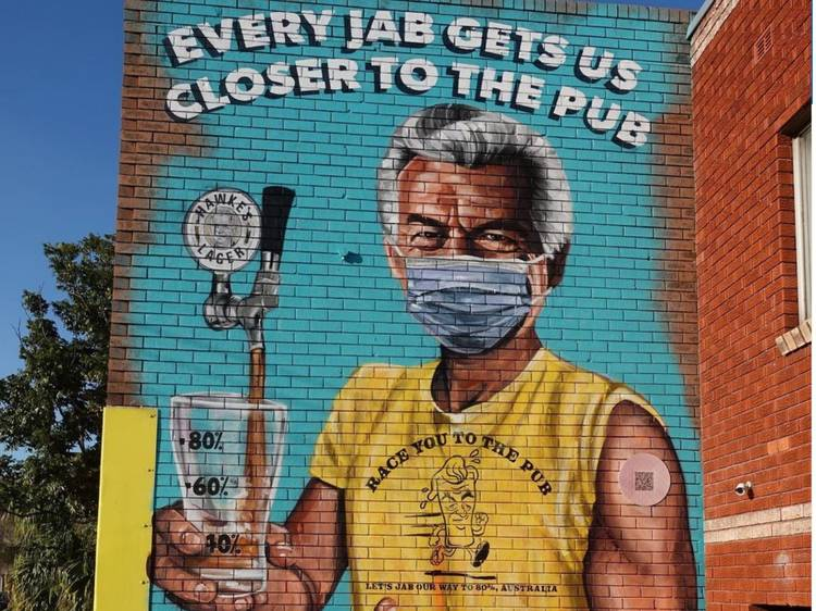 Brilliant artist Scott Marsh has done it again with this Bob Hawke mural