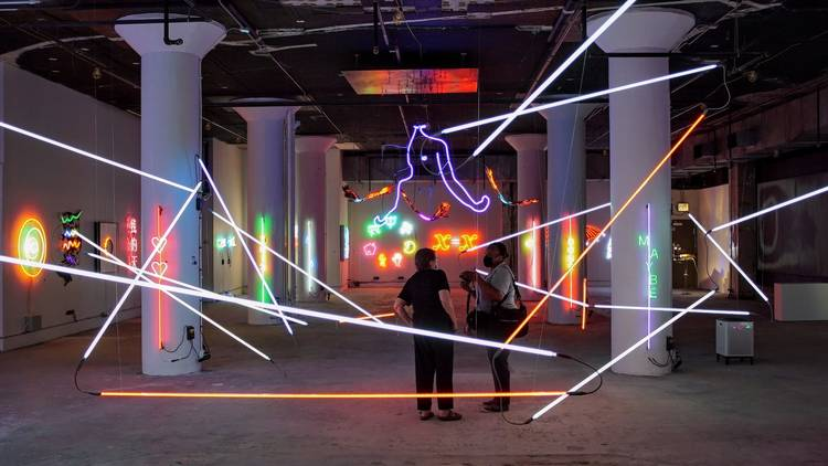Neon and Light Museum, view of the main gallery with numerous neon installations