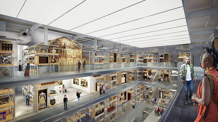 Internal render view of the central collection hall in V&A East Storehouse at Here East, designed by Diller Scofidio + Renfro