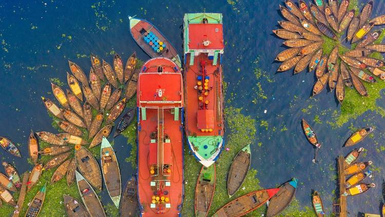Colourful boats in Bangladesh