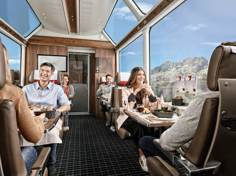 Revel in the new luxurious seats of the Glacier Express