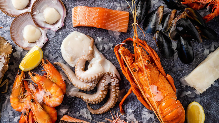 a flat lay of fresh seafood, lobster, octopus, prawns, scallops, mussels and fish fillets