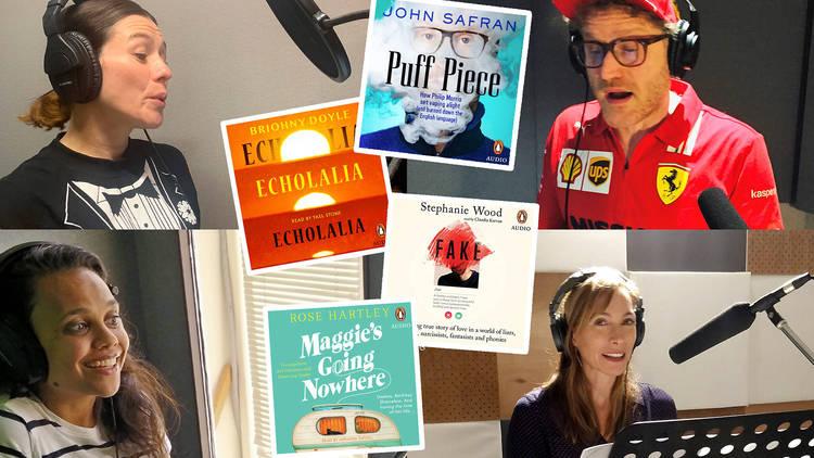 A composite image of celebrities Yael Stone, Miranda Tapsell, Claudia Karvan and John Safran narrating audiobooks