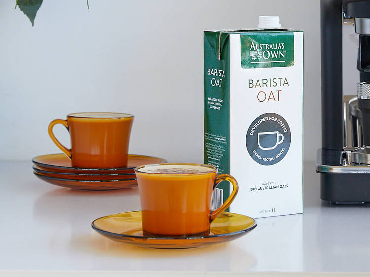 Add in some smooth and creamy steamed oat milk for dairy-free coffee that's as good as your local café's