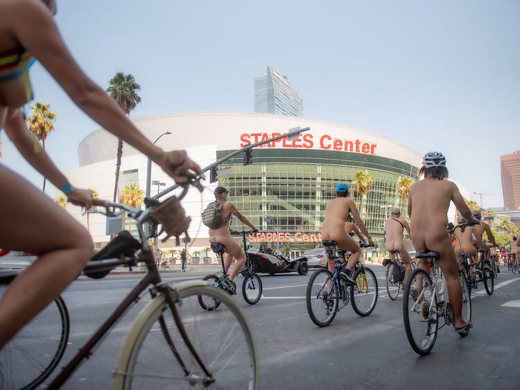 Take a look at photos of the World Naked Bike Ride's 2021 bare ride through Downtown L.A.