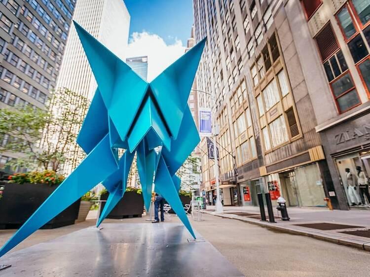 Massive origami sculptures have taken over this NYC neighborhood