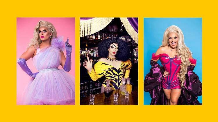 Drag queens Cheryl Hole, Choriza May, Kitty Scott Claus