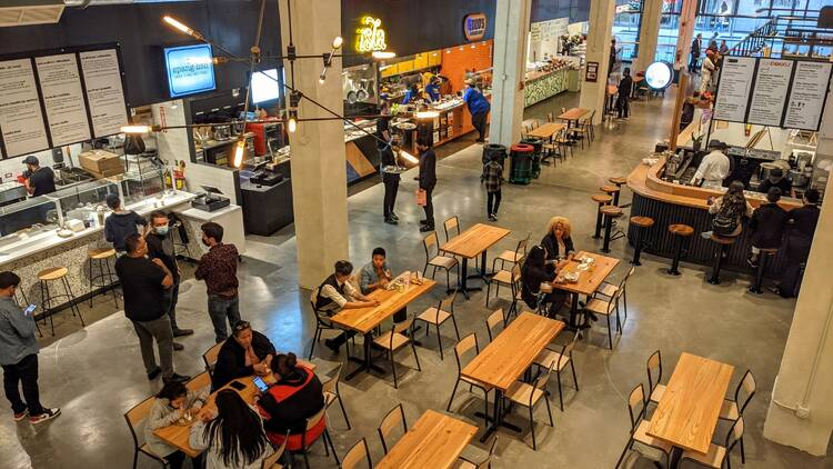 Urbanspace Chicago food hall at 15 W Washington