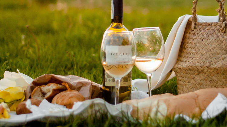 Two wine glasses stand on a rug against a grassy background next to a picnic hamper