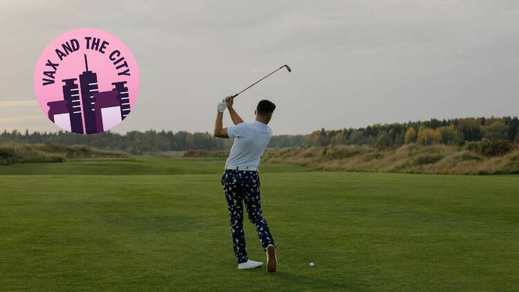 Man in decorated pants playing golf
