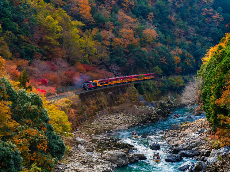 Sagano Scenic railway in Kyoto, Japan
