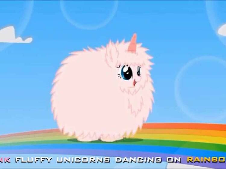 'Pink Fluffy Unicorns Dancing on Rainbows' by Andrew Huang