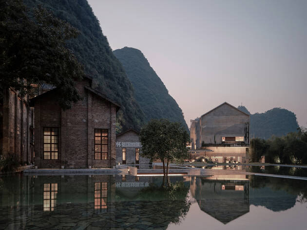 This beautiful lakeside hotel in China is straight out of a Bond movie