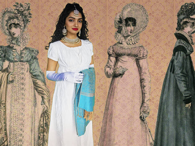 A woman wearing a white dress, gloves and jewellery standing in front of a background with three illustrated Jane Austen characters.