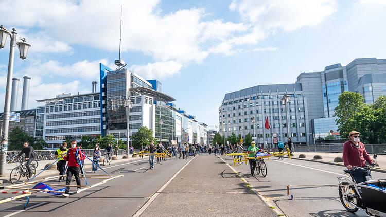 Berlin car-free protestors