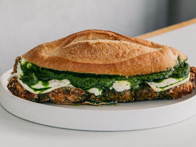 A rib-eye, smoked buffalo and salsa verde sandwich.