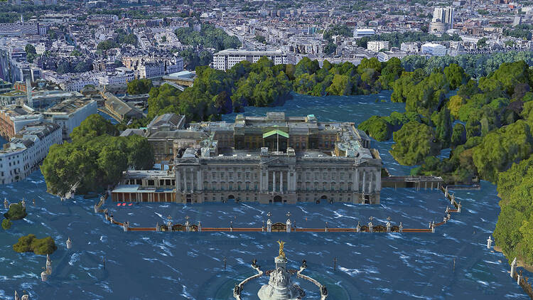 A rendering of Buckingham Palace submerged in water