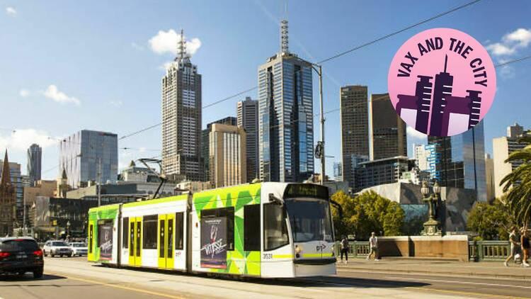 Melbourne tram passing Melbourne skyline