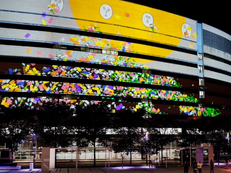 Interactive projections in Quartier des Spectacles