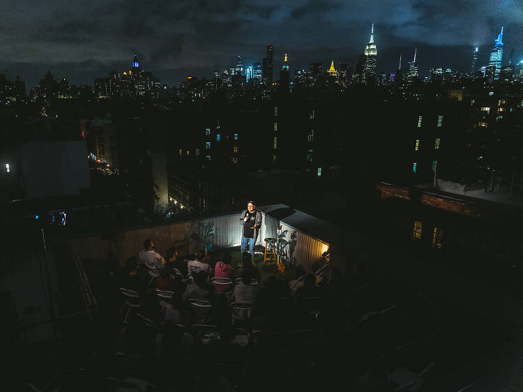 This secret NYC comedy show pops up in the city's most surprising places