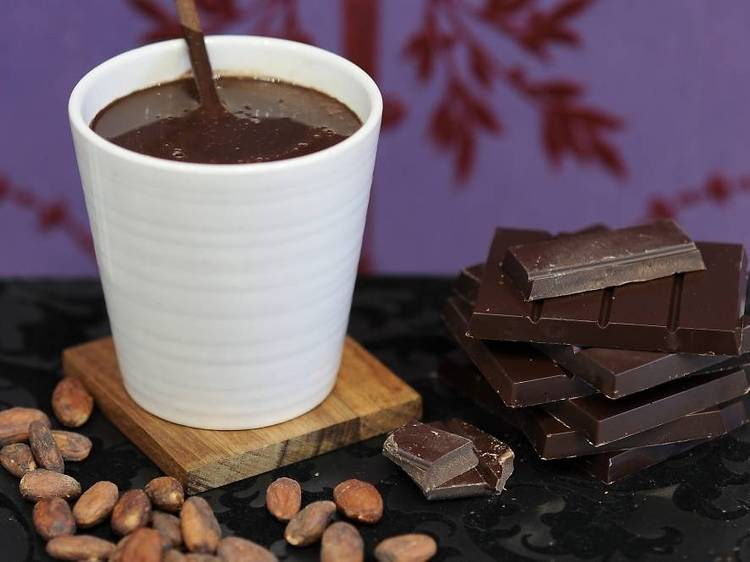 Aztec hot chocolate at Paul A Young Fine Chocolates