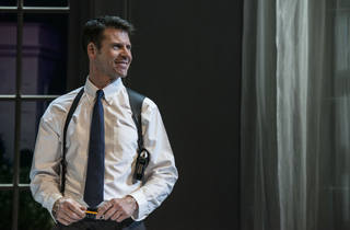 Lloyd Owen (Frank Farmer) in The Bodyguard at The Adelphi Theatre  Photo....jpg