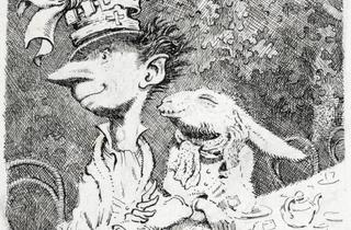 Peake's original drawing for the Mad Hatter's tea party - credit Mervyn Peake Estate and British Library Board.JPG