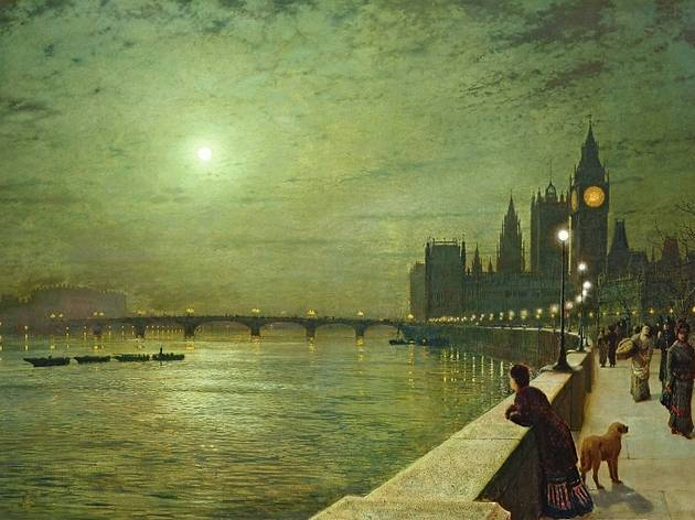 Reflections on the Thames, Westminster, 1880 by John Atkinson Grimshaw, Leeds Museums and Galleries, Bridgeman Art Library small.jpg