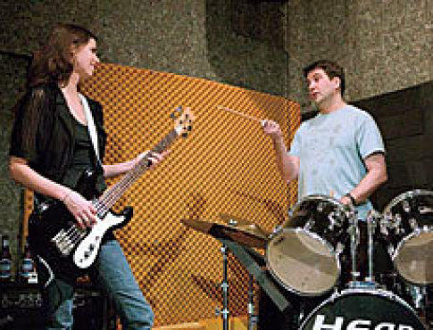 IN A JAM Rockers Gruss, left, and Forman play loud.
