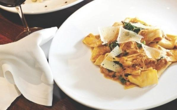 Travertine's pappardelle with a rabbit rag