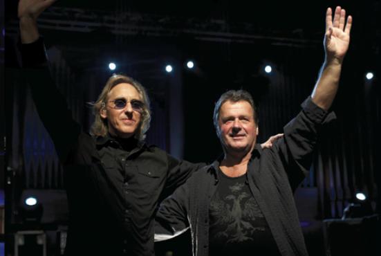 Eddie Jobson, left, and John Wetton