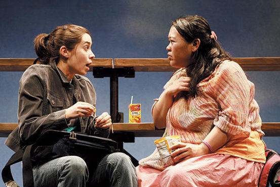 HIGH-SCHOOL CONFIDENTIAL Milioti, left, shares secrets with Herlihy.